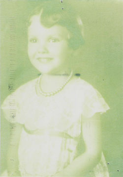 Kyle Cloutier's mother, Pat Carrothers, as a young girl